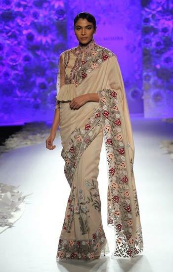 latest-sarees-rahul-mishra-2016-2017-cream-embroidered-saree-ruffled-slit-blouse