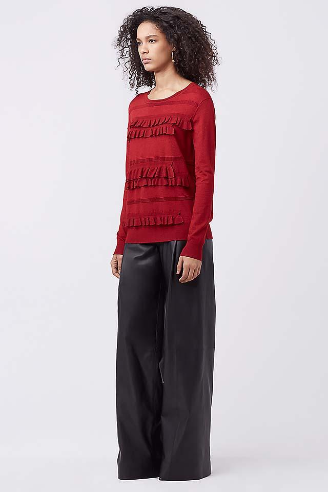 top-fashion-trends-for-sweaters-2017-diane-von-fursternberg-maroon-ruffles
