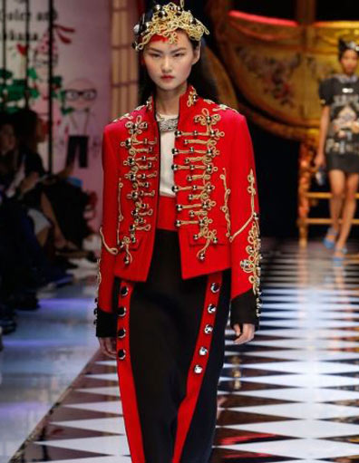 dolce-gabbana-red-military-jacket-gold-frogging-dress-latest-coat-trend-2017