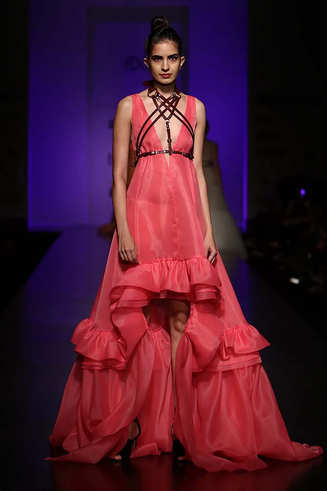 Gauri-and-nainika-latest-indian-designer-gowns-trend-asymmetric-rose-pink-ruffle-dress-spring-summer-2017
