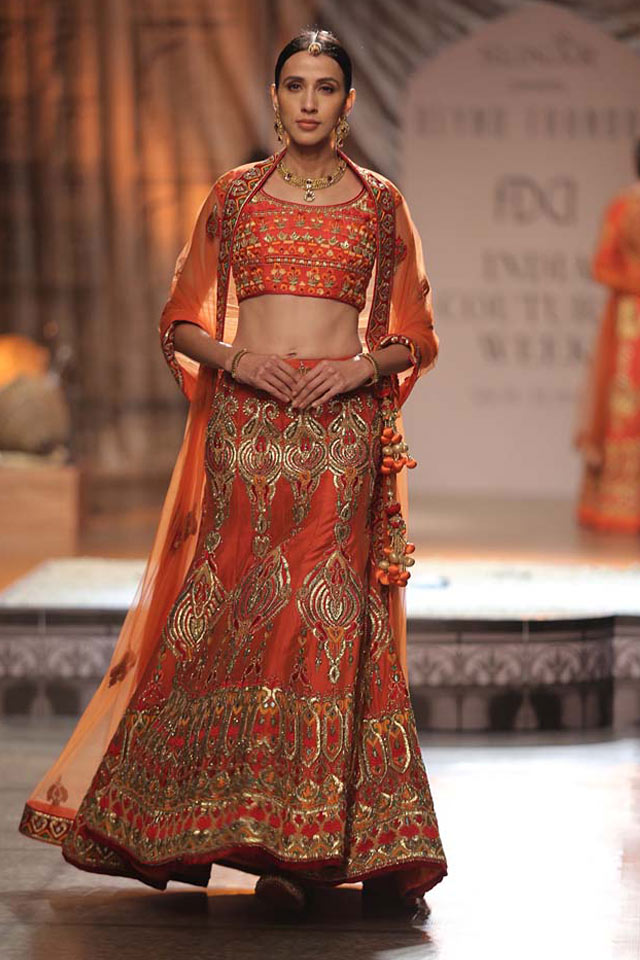 Reynu-Taandon-latest-indian-lehenga-designs-for-wedding-gota-orange-a-cut-spring-summer-2017