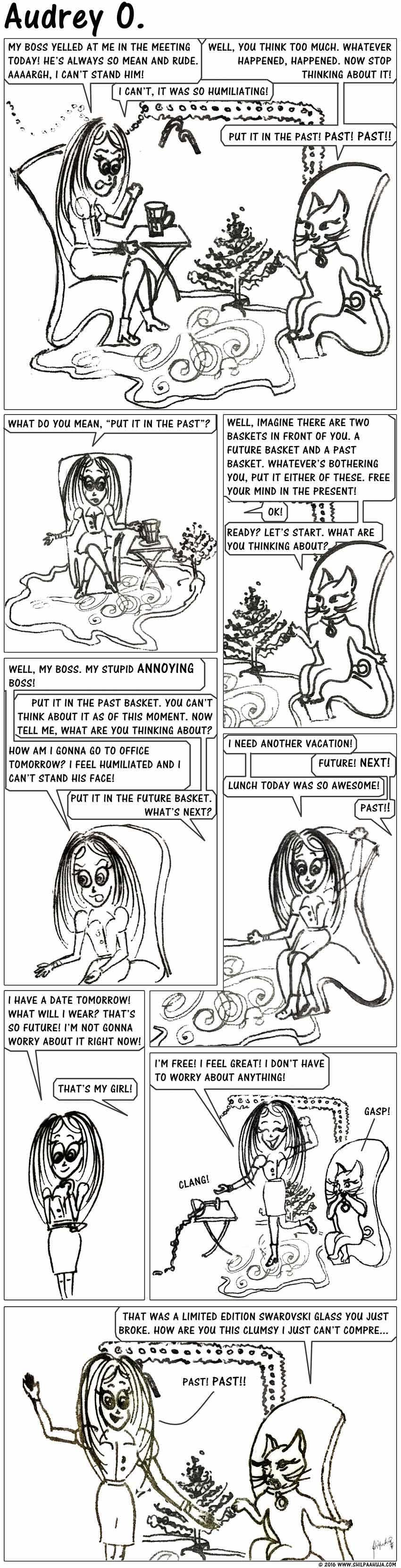 audrey-o-comic-v1e120-cartoon-how-to-not-think-too-much-calm-past-future-coco
