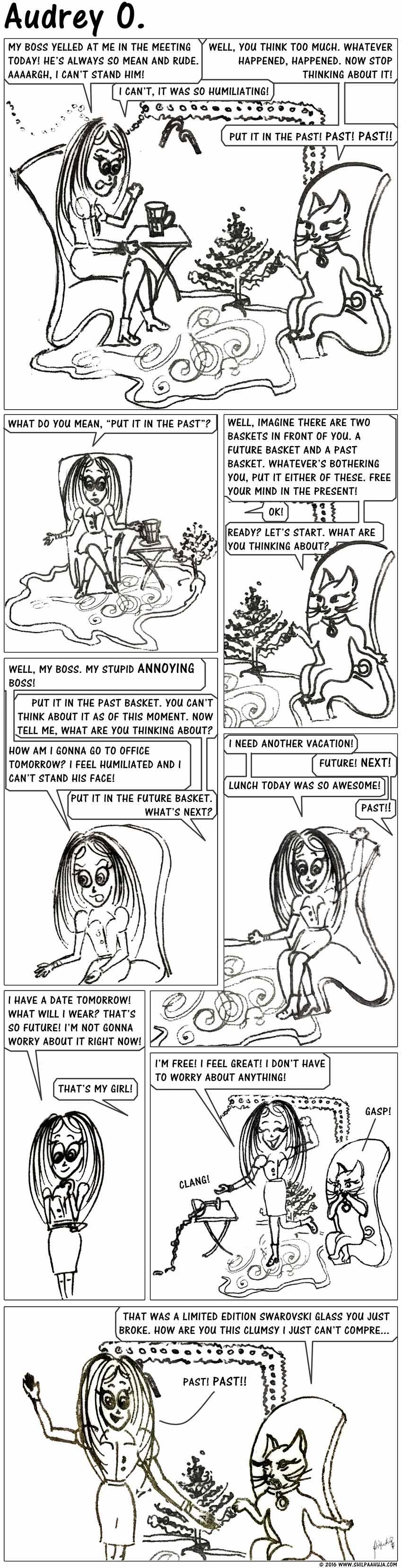 audrey-o-comic-v1e120-cartoon-how-to-not-think-too-much-calm-past-future-coco