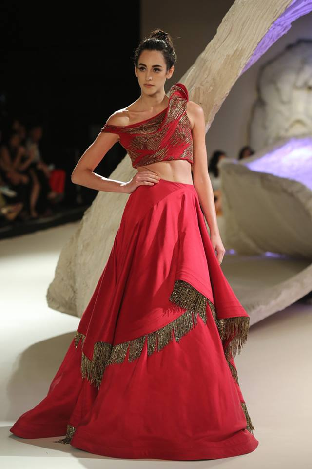 gaurav-gupta-blood-red-off-shoulder-designer-lehenga-fringes-ruffled-spring-summer-2017