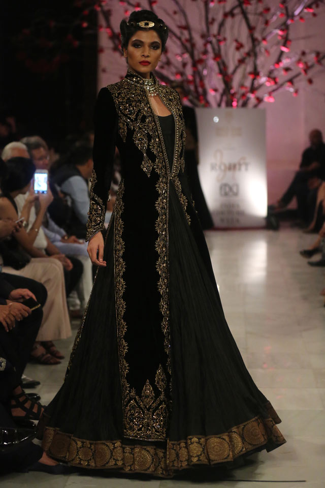 indian-gown-trends-deep-brown-jacket-motifs-Rohit-Bal-spring-summer-2017