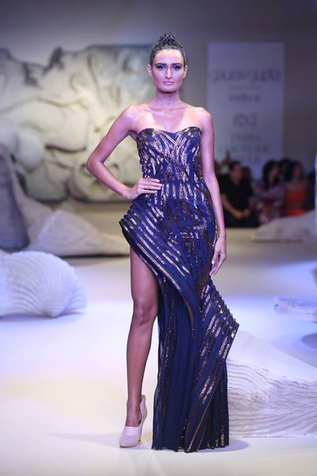 latest-designer-indian-gowns-trends-asymmetric-sequin-navy-gaurav-gupta-spring-summer-2017