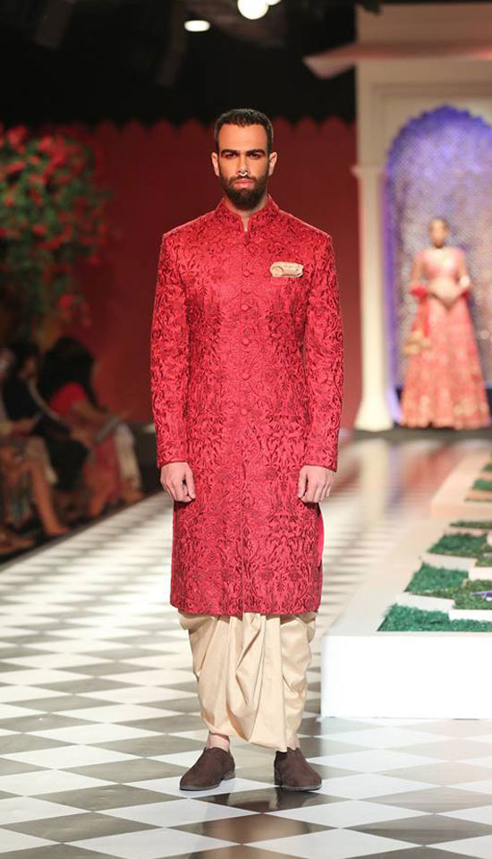 latest-sherwani-designs-for-wedding-trends-red-embroidery-anita-dongre-SS17