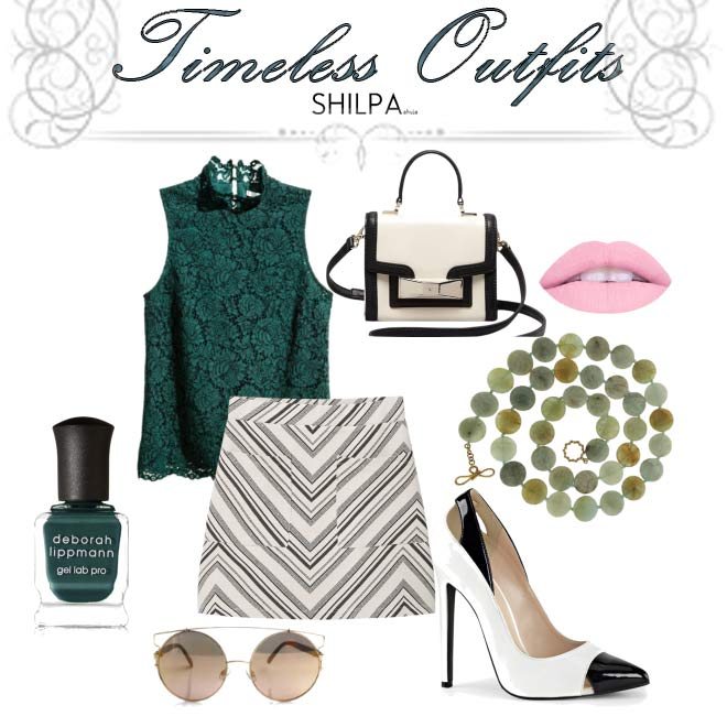 timeless-outfits-sleeveless-blouse-knee-length-skirt-style-classic