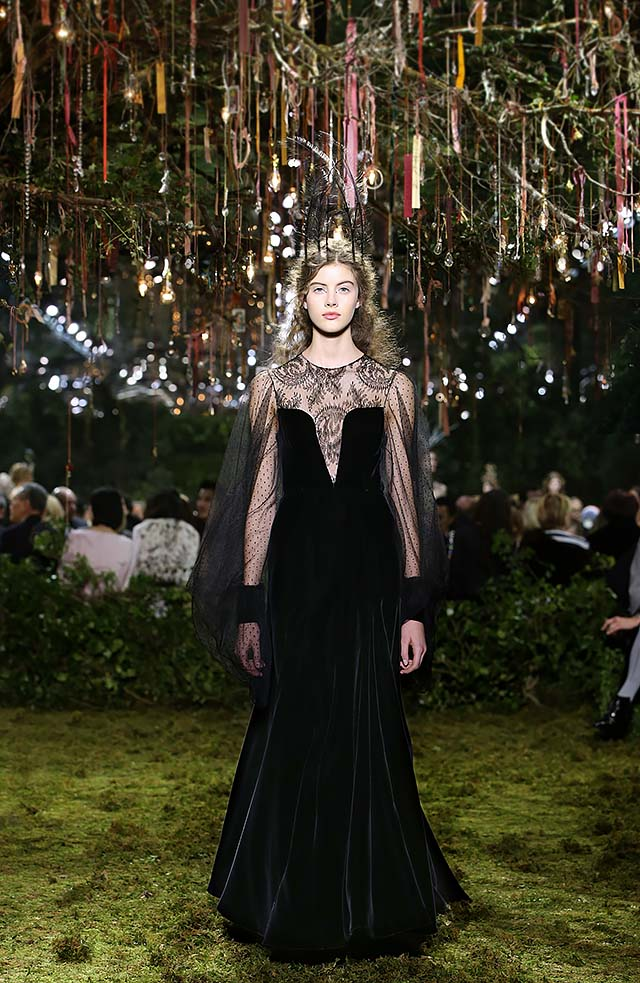 Dior-Haute-Couture-SS17-Look-46-plunged-neckline-black-velvet-gowm-net-cape-latest
