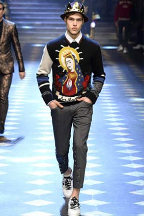 dolce-gabbana-fall-winter-2017-2018-fw17-menswear-men-cool-graphic-sweater-statement-hat-white-sneakers