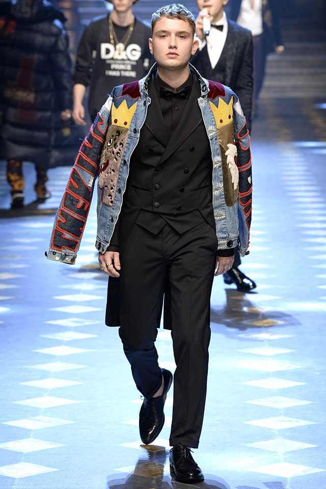 dolce-gabbana-fall-winter-2017-2018-fw17-menswear-men-patchwork-denim-jacket-tuxedo