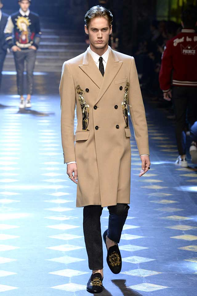 dolce-gabbana-fall-winter-2017-2018-fw17-menswear-men-patchwork-wool-coat-embellished-loafers-trousers