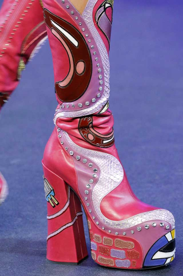 marc-jacobs-printed-pink-patterned-statement-boots-spring summer shoe trends-2017