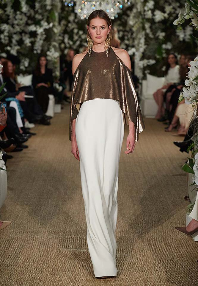 24-ralph-lauren-fall-winter-2017-fw17-collection-copper-metallics-off-the-shoulder-white-skirt