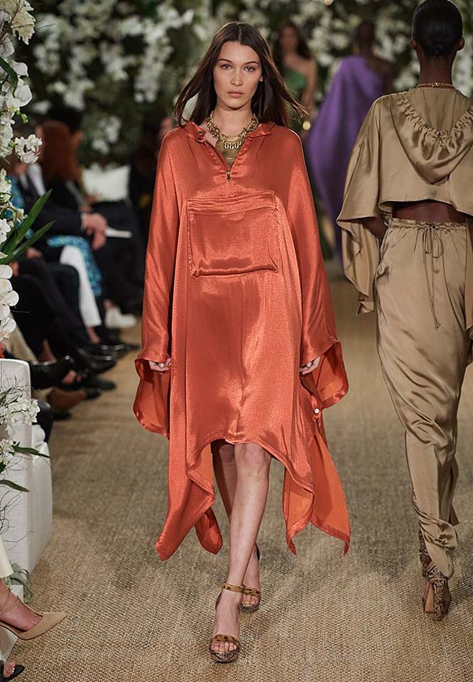 29-ralph-lauren-fall-winter-2017-fw17-collection-orange-asymmetric-dress-sleeves-bright-jewelry