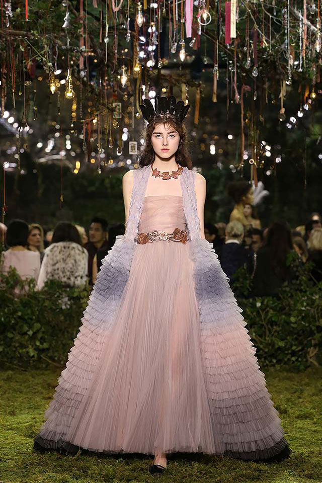 Dior-haute-Couture-SS17-look-ruffled-gowns-latest-trends-peach-long-gown-ruffles-brown-necklace-statement-belt