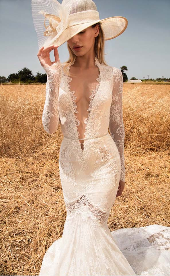 GaliaLahav-bridal-collection-spring-summer-2017-wedding-gowns-designer-beautiful (25)-sheer-lace-plunging-neckline