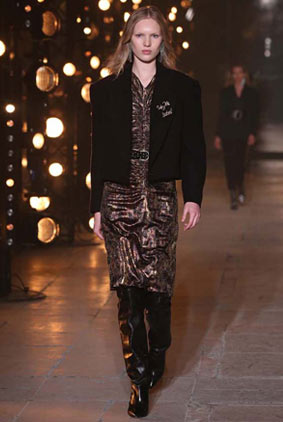 Isabel-Marant-fw17-fall-winter-2017-1-metallic-dress-black-jacket-belt-black-boots-drop-earring