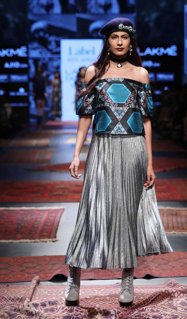 Ritu-Kumar-LFW-Summer-resort-metallic-skirt-off-shoulder-printed-top (1)