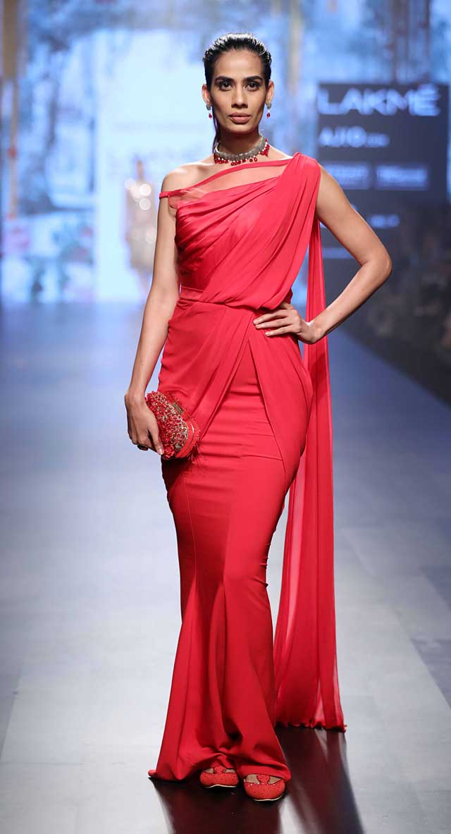 Tarun-Tahiliani-collection-lakme-fashion-week-summer-resort-2017 (1)-red-saree-gown-indowestern