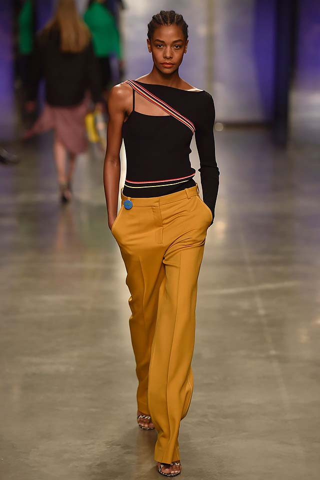 Topshop-Unique-fw17-rtw-fall-winter-2017-18-collection-2-yellow-pants-one-sleeved-dress