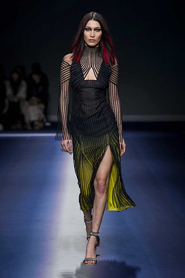 Versace-fw17-rtw-fall-winter-2017-18-collection (48)-stripes-sheer-high-slit-dress