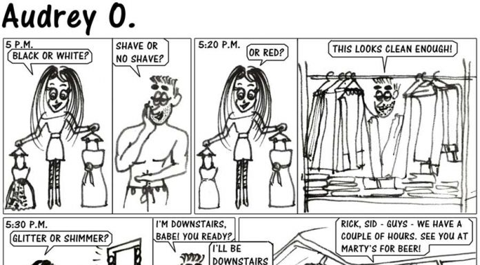 audrey-o-comic-v1e30-cartoon-girls-vs-guys-getting-ready-for-a-date-late-long'