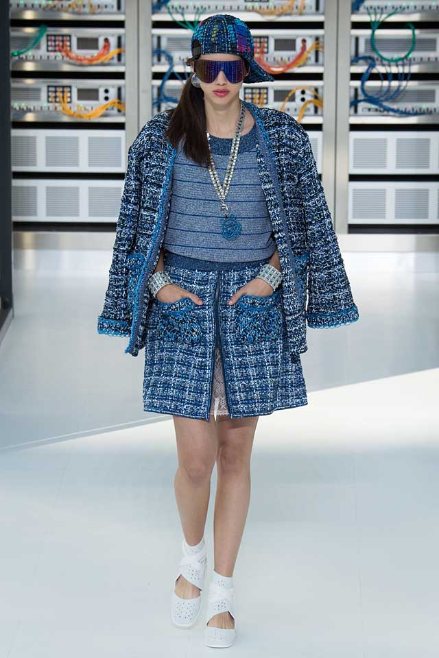 chanel-matching-set-outfit-blue-skirt-jacket-latest-2017-trends-spring-fashion