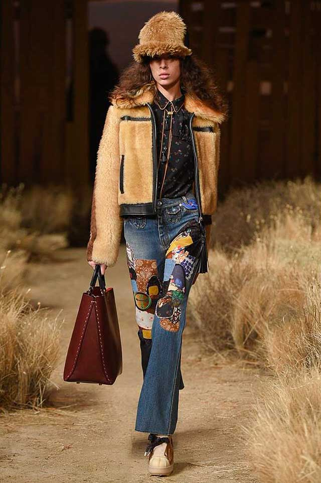 jeans trend analysis-coach-fw17-rtw-fall-winter-2017-outfit-collection (34)-fur-jacket-embroidered-jeans