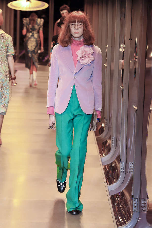 gucci-fw17-rtw-fall-winter-2017-2018-collection (79)-pink-jacket-green-pant