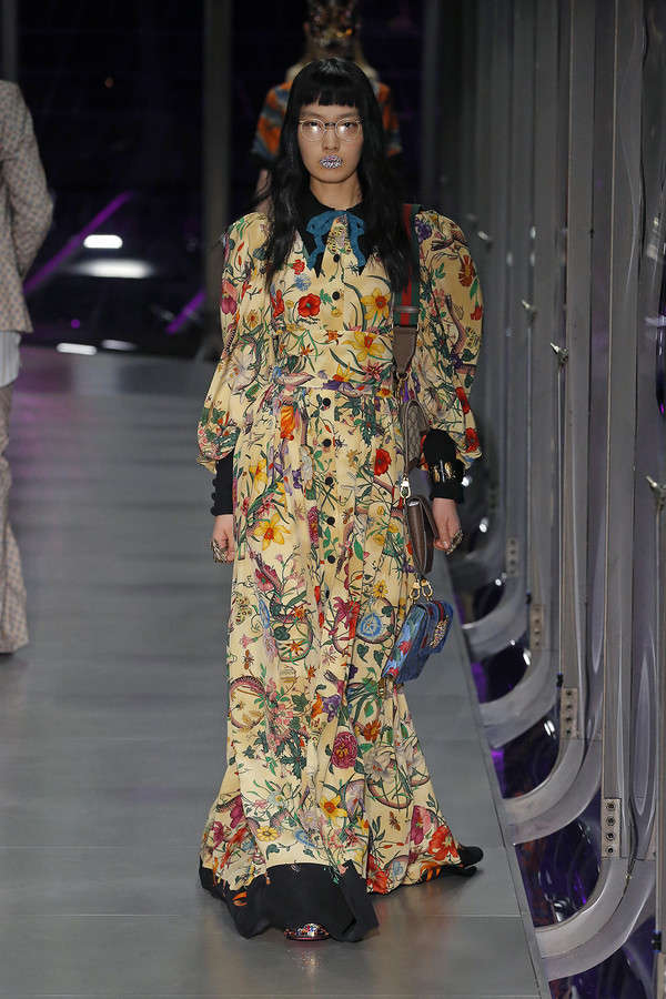 gucci-fw17-rtw-fall-winter-2017-2018-collection (89)-floral-dress