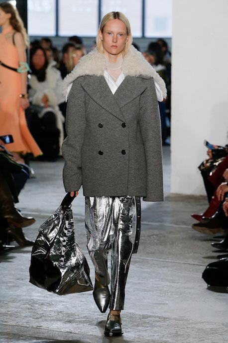 proenza-schouler-fw17-rtw-fall-winter-2017-18-collection (14)-metallic-pants-grey-coat