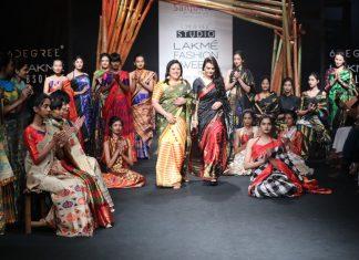 sanjukta-dutta-lfw-sr17-lakme-fashion-week-summer-resort-2017 (6)-showstopper--preity-zinta-designer-black-red-sari