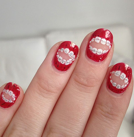 trends-in-nail-art-teeth-shaped-design-red-white-miss-pop-2017-top-ideas