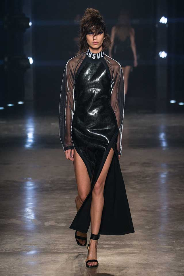 versus-versace-fw17-rtw-fall-winter-2017-collection-outfit (47)-sheer-sleeve-black-dress-slit