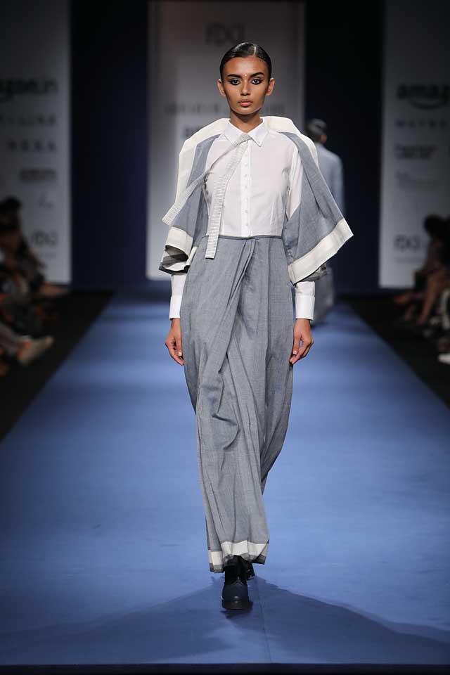 Abraham-Thakore-aifw-2017-fashion-show-designer-indowestern-dresses (3)-saree-pant-shirt
