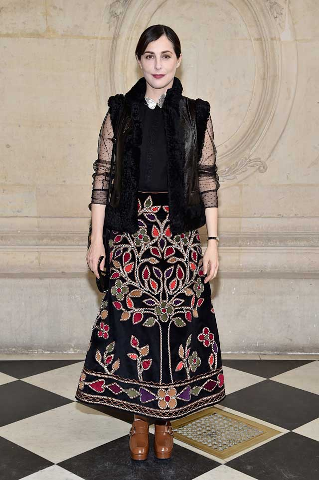 Amira Casar-dior-fw17-rtw-fall-winter-2017-celeb-style-multicolor-patterned-skirt-sheer-sleeves-front-row