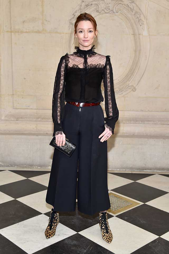 Audrey Marnay-dior-fw17-rtw-fall-winter-2017-celeb-style-sheer-top-culottes-animal-print-shoes