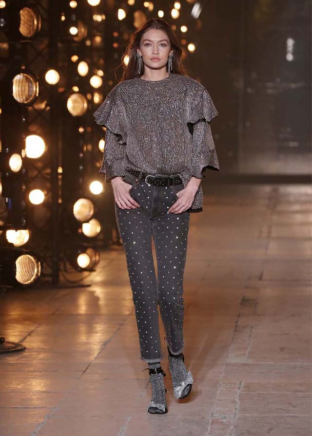 Isabel-Marant-fw17-fall-winter-2017 (10)-layered-sleeve-grey-top-black-pants-grey-ankle-strap-heels