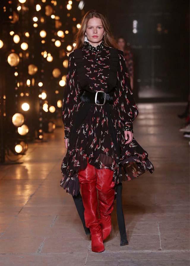 Isabel-Marant-fw17-fall-winter-2017 (13)-asymmetric-dress-red-booties-black-belt