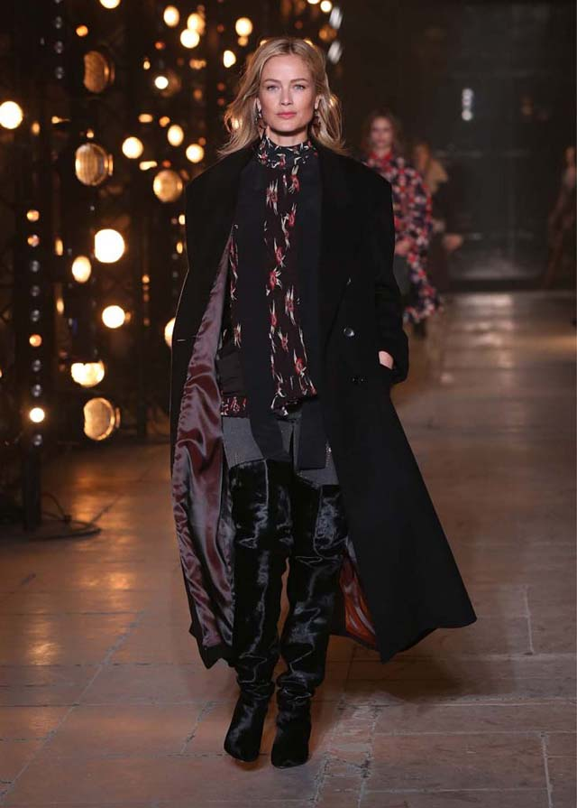 Isabel-Marant-fw17-fall-winter-2017 (15)-printed-top-buttoned-coat-black-booties