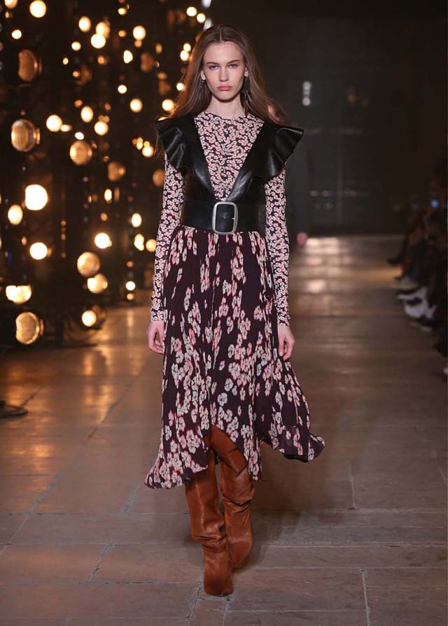 Isabel-Marant-fw17-fall-winter-2017 (18)-floral-printed-asymmetric-dress-tan-brown-booties