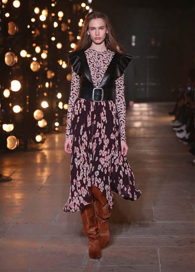 Isabel-Marant-fw17-fall-winter-2017 (18)-floral-printed-asymmetric-dress-tan-brown-booties