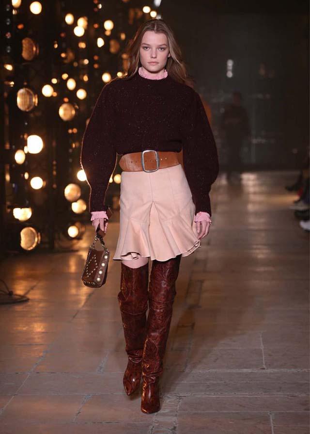 Isabel-Marant-fw17-fall-winter-2017 (25)-brown-booties-belt-dress