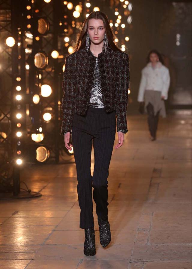 Isabel-Marant-fw17-fall-winter-2017 (31)-jacket-formal-pants-long-drop-earrings