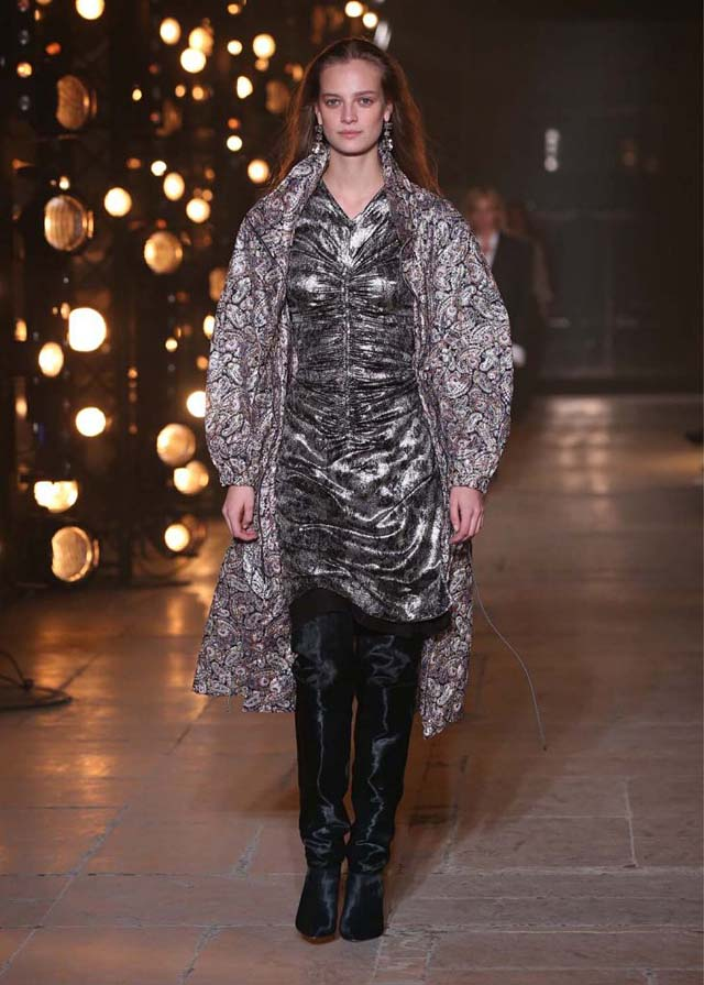 Isabel-Marant-fw17-fall-winter-2017 (33)-metallic-dress-printed-coat