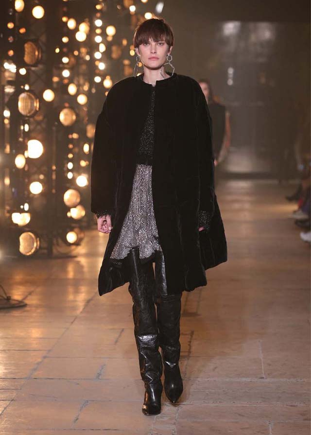 Isabel-Marant-fw17-fall-winter-2017 (4)-shiny-dress-velvet-coat-black-knee-high-booties
