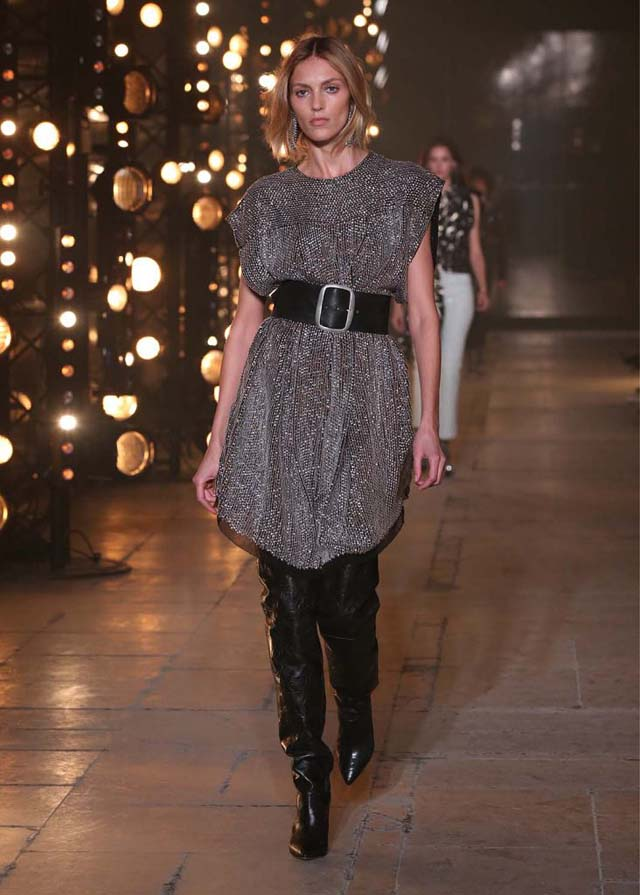 Isabel-Marant-fw17-fall-winter-2017 (6)-grey-dress-black-belt-black-knee-high-booties