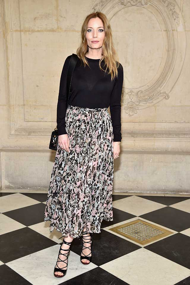 ucie-de-La-Falaise-dior-fw17-rtw-fall-winter-2017-celeb-style-printed-skirt-black-top-celebrity-wear