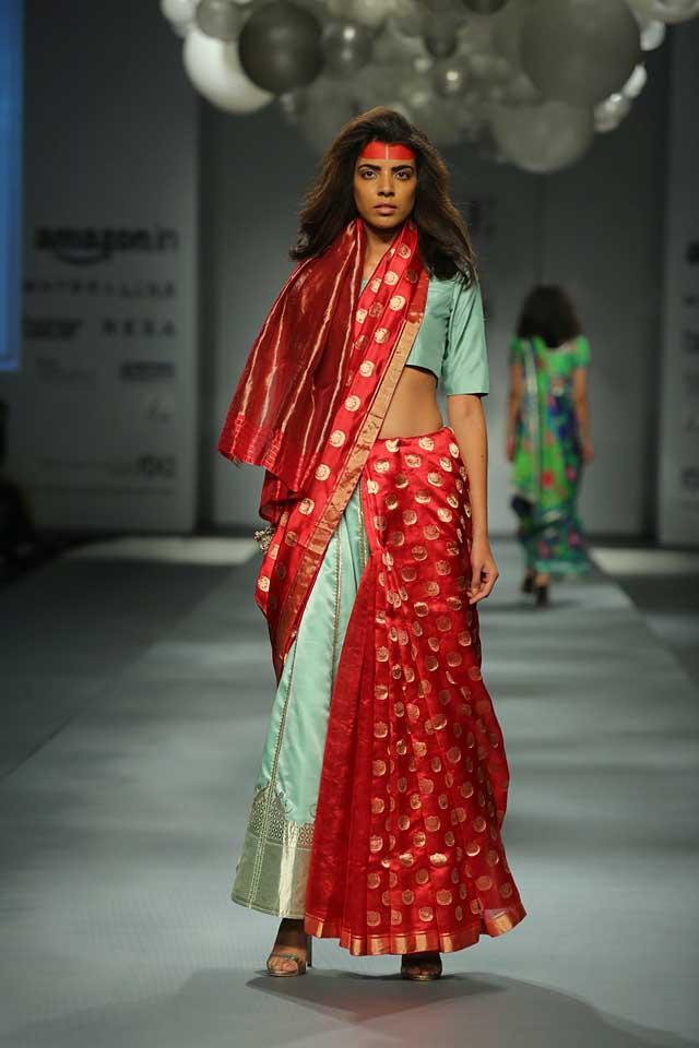 Raw Mango Sanjay Garg-polka-dots-half-draped-amazon-india-autumn-winter-2017-collection-fashion-show-red